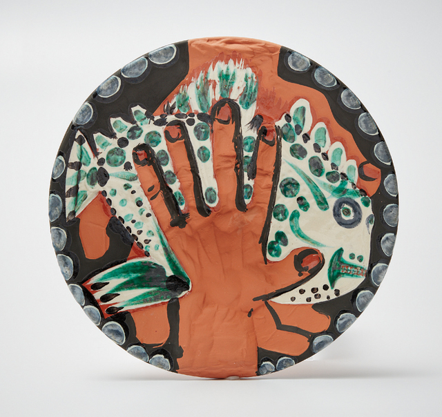 Pablo Picasso, 'Mains au poisson (Hands with Fish)', 1953, Print, Red earthenware round dish painted in colors, with engraving and partial brushed glazed, Phillips