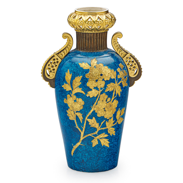 'Faience Manufacturing Co., Vase With Cherry Blossoms And Faux Lapis Background, New York', Late 19th C., Rago/Wright