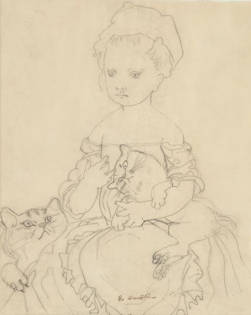 Léonard Tsugouharu Foujita, 'Petite fille avec deux chats', Phillips