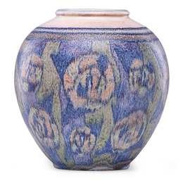 Decorated Mat vase with stylized flowers (uncrazed), Cincinnati, OH