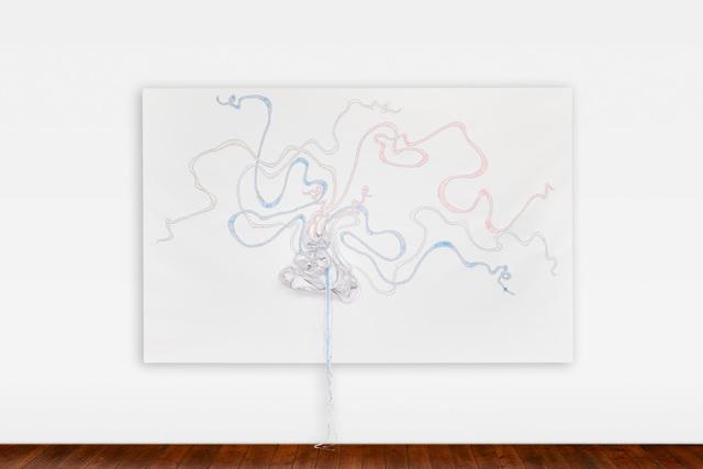 Nicholas Hlobo, 'Isingxobo', 2018, Painting, Ribbon and leather on canvas, Lehmann Maupin