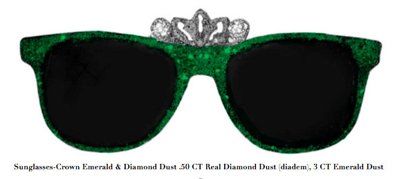 Stacy Engman, 'Sunglasses-Crown Emerald & Diamond Dust .50 CT Real Diamond Dust (diadem), 3 CT Emerald Dust', 2019, ART CAPSUL