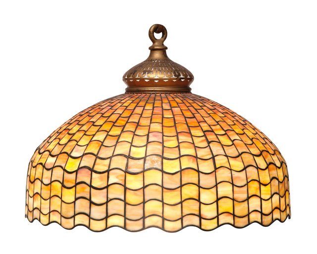 'Tiffany Studios Leaded Glass and Bronze Geometric Hanging Shade', Design/Decorative Art, Doyle