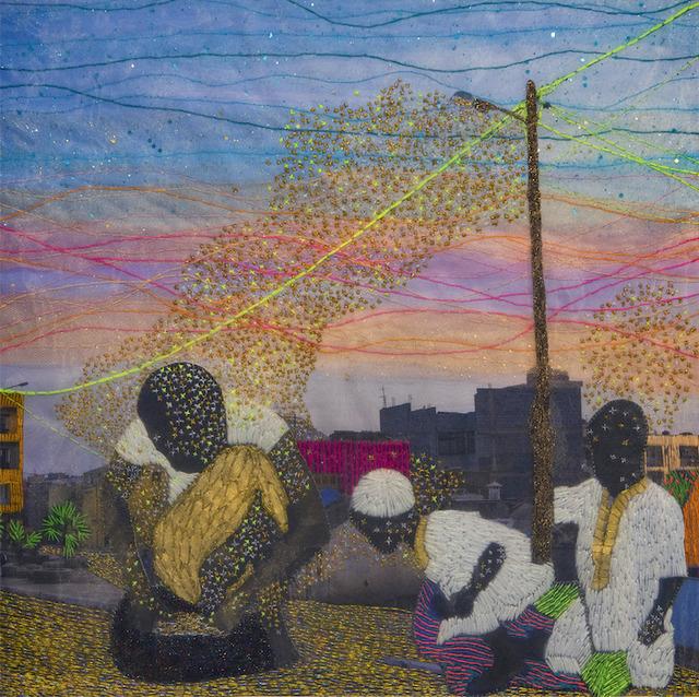 Joana Choumali, 'Douahou', 2020, Mixed Media, Embroidery on digital photography printed on canvas, Loft Art Gallery