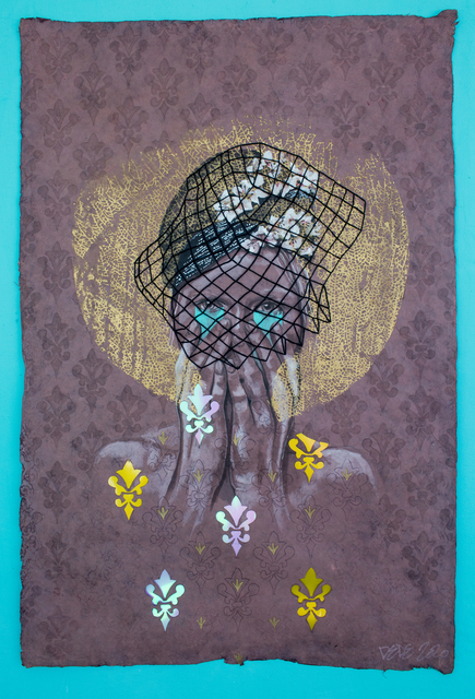 Dede Brown, 'Behind My Fascinator', 2020, Drawing, Collage or other Work on Paper, Mixed media on handmade paper, Black Pony Gallery