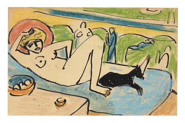 , 'Liegender weiblicher Akt mit Hund,' ca. 1911, Ludorff