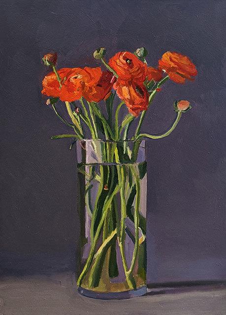 Dan McCleary, 'Red Ranunculus', 2019, Painting, Oil on canvas, Craig Krull Gallery