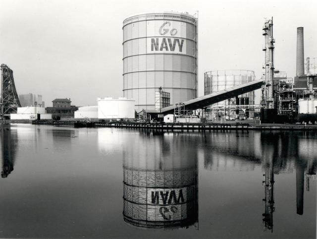 , 'Gas Tank (Go Navy) from the Passaic River,' 1982, L. Parker Stephenson Photographs