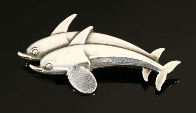 Arno Malinowski, 'A Georg Jensen sterling silver dolphin brooch', Jewelry, Sworders