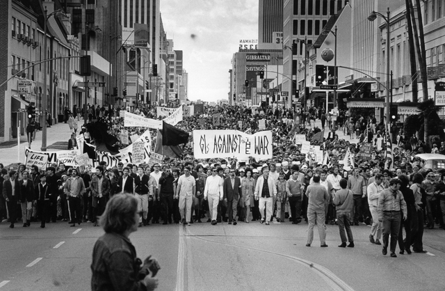 , 'Untitled (Marchers protesting the Vietnam War on Wilshire Boulevard at Virgil Street, Los Angeles),' 1967, Kohn Gallery