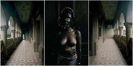 Leonce Raphael Agbodjelou, 'Untitled triptych (Demoiselles de Porto-Novo series),' 2012, Jack Bell Gallery