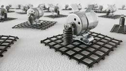 , '23 prepared dc-motors, grid,' 2009, bitforms gallery