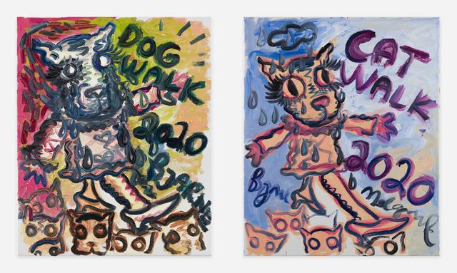 Bjarne Melgaard, 'Cat/Dog Walk', ca. 2020, Painting, Oil paint on canvas, Thaddaeus Ropac