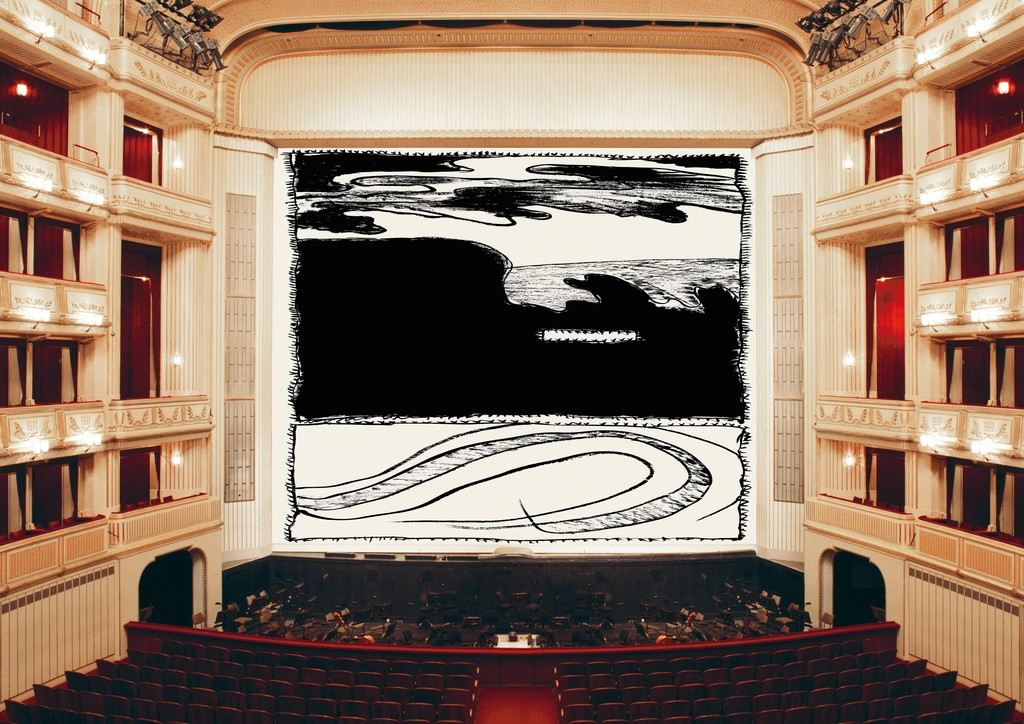 Pierre Alechinsky, Loin d'ici, 2018, Safety Curtain, Vienna State Opera, Copyright: museum in progress (www.mip.at)
