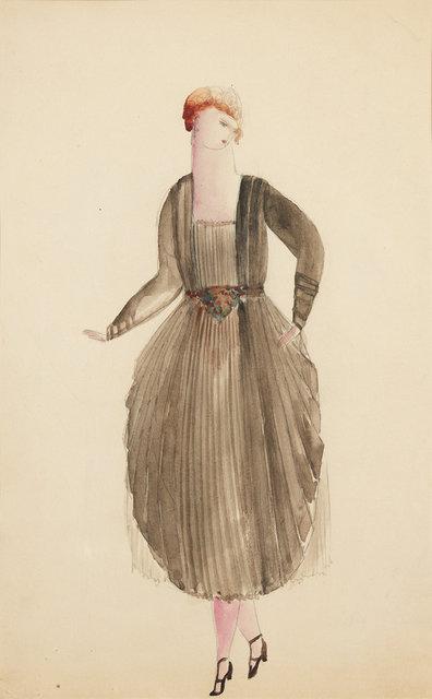 , 'Svart plisserad klänning med snäckformad kjol,' 1917-1921, CFHILL