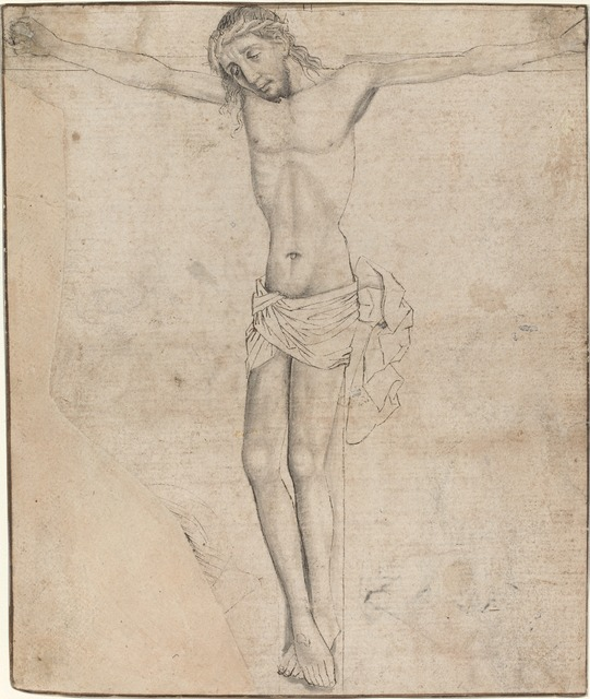 Master of the Coburg Roundels, 'Christ on the Cross [recto]', ca. 1490, Drawing, Collage or other Work on Paper, Pen and black ink with gray wash on antique laid paper, National Gallery of Art, Washington, D.C.