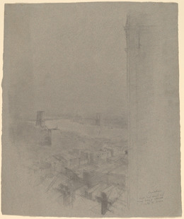 Stanford White, 'Manhattan Bridge', Drawing, Collage or other Work on Paper, Graphite on blue-gray laid paper, National Gallery of Art, Washington, D.C.