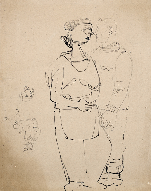 , 'Self-portrait with Figure of a Woman (and drawing of Head attributed to Ludwig Meidner),' 1943-1945, Ben Uri Gallery and Museum