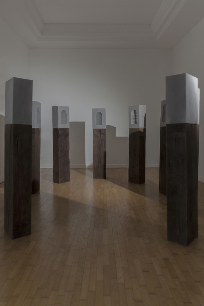 "Isobel Church, ""Nine Worthies"", 2017, jesmonite, pigment, oak, 162x20x30cm each at Montoro12 Contemporary Art"