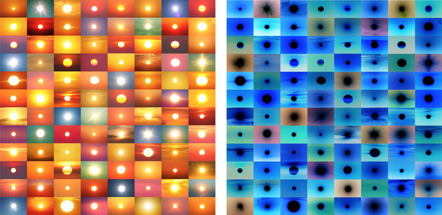 , '31,888,928 Suns from Sunsets from Flickr (Partial) 10/24/16 / 31,888,928 Suns from Sunsets from Flickr (Partial) 10/24/16 (inverted),' 2016, Mark Moore Fine Art
