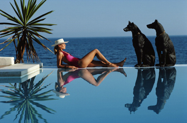 , 'Pantz Pool, 1985: Laura Hawk, assistant to the photographer, relaxes by the pool at El Rincon, the von Pantz' Marbella home,' 1985, Staley-Wise Gallery