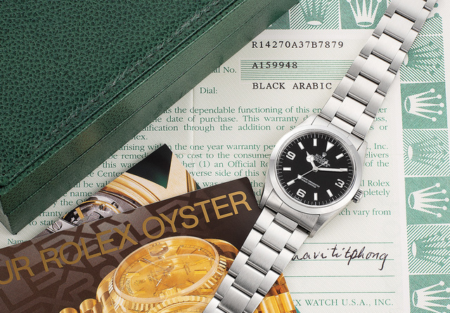 Rolex, 'A fine and extremely well-preserved stainless steel wristwatch with center seconds, guarantee and box', Circa 1999, Phillips