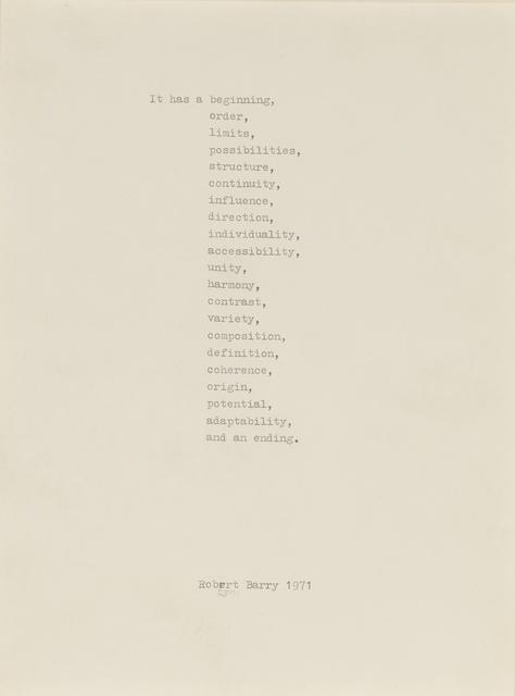 Robert Barry, 'It Has...', 1971, Sotheby's