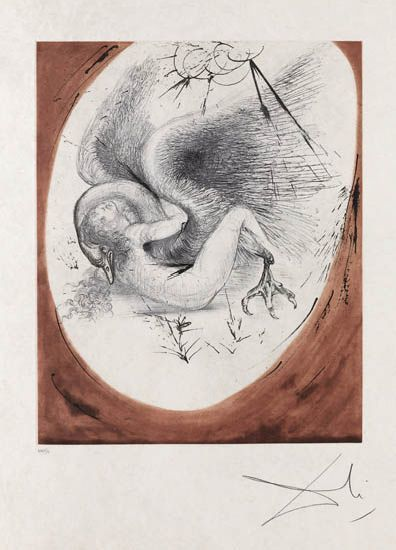 Salvador Dalí, 'Leda and Swan', 1964, Print, Drypoint and aquatint etching, Galerie d'Orsay