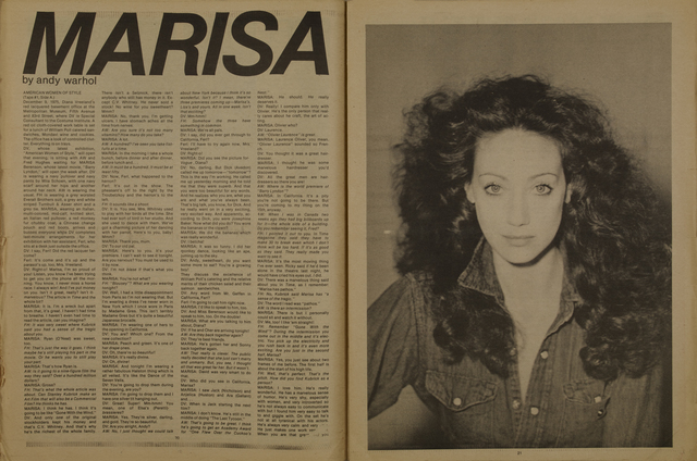 Andy Warhol, 'Interview, Marisa Berenson', 1975, Mixed Media, Felt pen on the magazine cover, Itineris