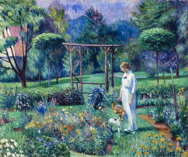 , 'Mrs. Barnes and Her Dog, Grover, in a Garden,' c. 1912, Somerville Manning Gallery
