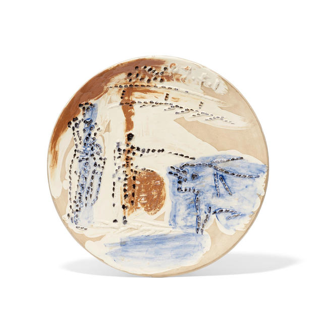 Pablo Picasso, 'Estocado, from Service Scènes de Corrida', 1959, Sculpture, White earthenware clay plate, decorated in blue, brown, and black engobes under partial brushed glaze with beige patina., Masterworks Fine Art