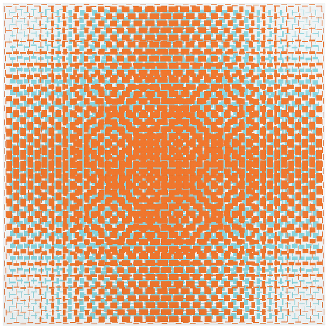 , 'orange-turquoise (B),' 2018, Galerie Denise René