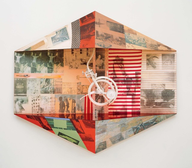 Robert Rauschenberg, 'Miter I (Scale)', 1980, Solvent transfer, fabric and paper collage, acrylic, and mirrored panels with paintbrush and painted bicycle part on wood support, Robert Rauschenberg Foundation