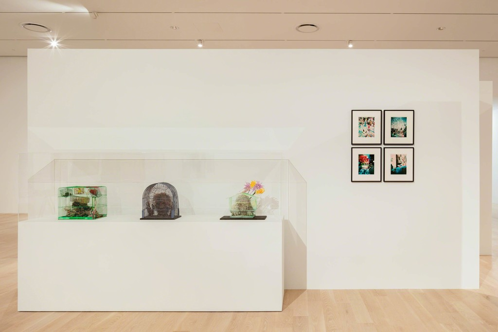 "Left: Tetsumi Kudo. Courtesy Andrea Rosen Gallery, New York; Hauser & Wirth; and Collection of Agnes and Edward Lee. Right: Lucas Samaras. Courtesy the artist and Pace Gallery, New York. Installation view: ""The Everywhere Studio,"" Institute of Contemporary Art, Miami, Dec 1, 2017–Feb 26, 2018. Photo: Fredrik Nilsen Studio."