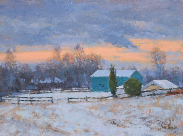 James Coe, 'Green Barns, First Snow', 2019, Painting, Oil, The Galleries at Salmagundi