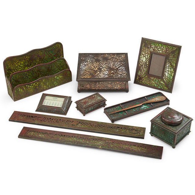 Tiffany Studios, 'Ten Assembled Pine Needle Desk Set Pieces, Picture Frame, Inkwell, Calendar, Paper Rack, Pen Tray, Letter Opener, Blotter Ends, Handkerchief Box and Stamp Box, New York', Early 20th C., Rago/Wright
