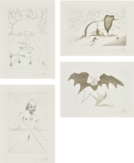 Salvador Dalí, 'Aurélia', 1972, Print, The compete set of four etchings with drypoint, on Richard de Bas Auvergne paper, with full margins, with title page and justification, the sheets loose (as issued) contained in the original fabric-covered portfolio with silver printed title and signature., Phillips