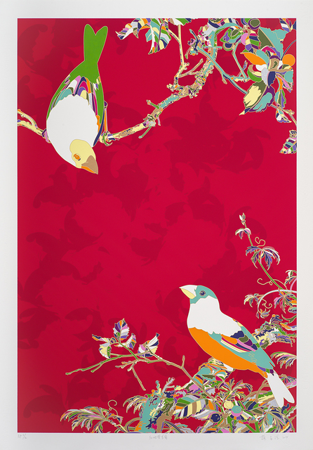 , 'Two Birds Against Crimson Backdrop,' 2014, Tina Keng Gallery