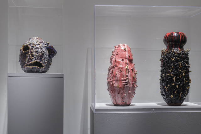 , 'Installation shot (l to r): Sak(r)é Voudou (Sacred Voodoo), Gestation no.1, and The Black Widow,' 2016, Boca Raton Museum of Art