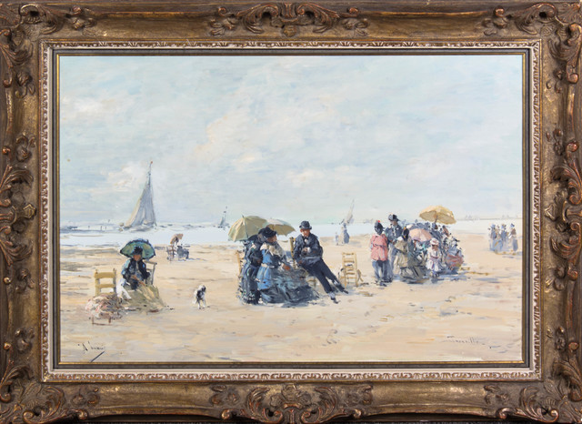 Unknown, 'Beach at Trouville',  20th century, Painting, Oil on Canvas, Queen Fine Arts