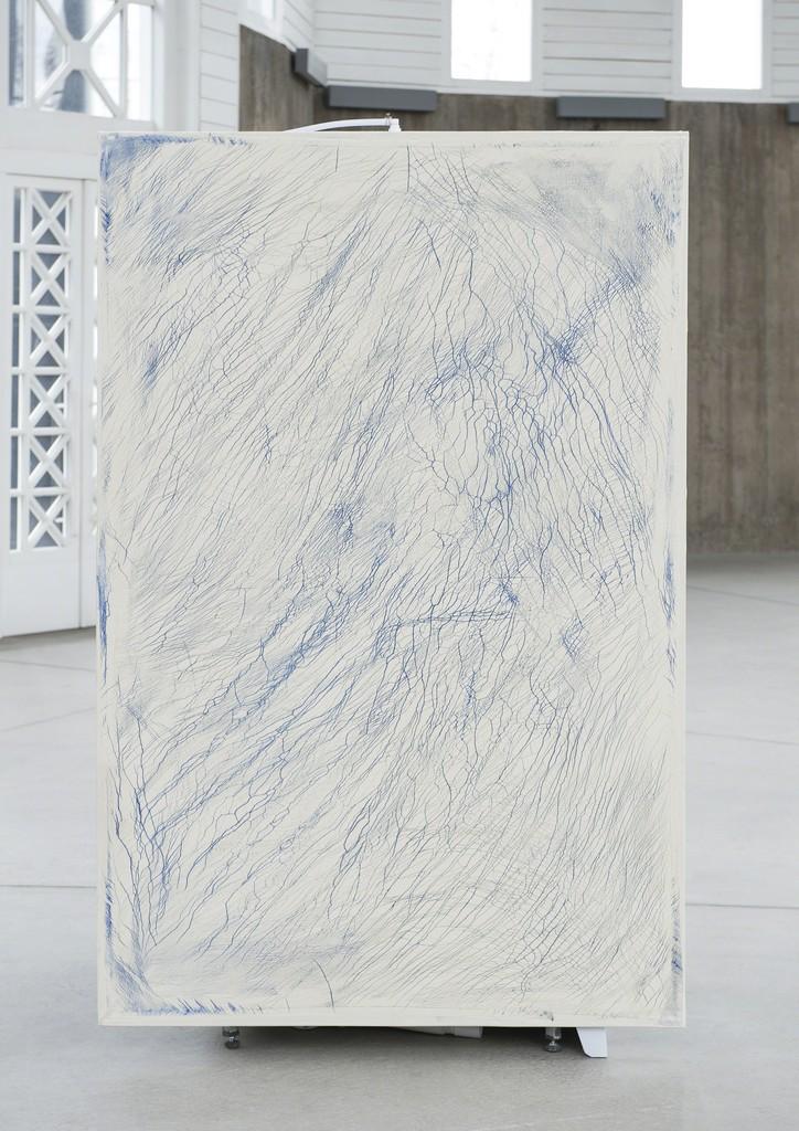 Dino Zrnec, Untitled, 2017, oil on canvas on shower box, 200x125cm