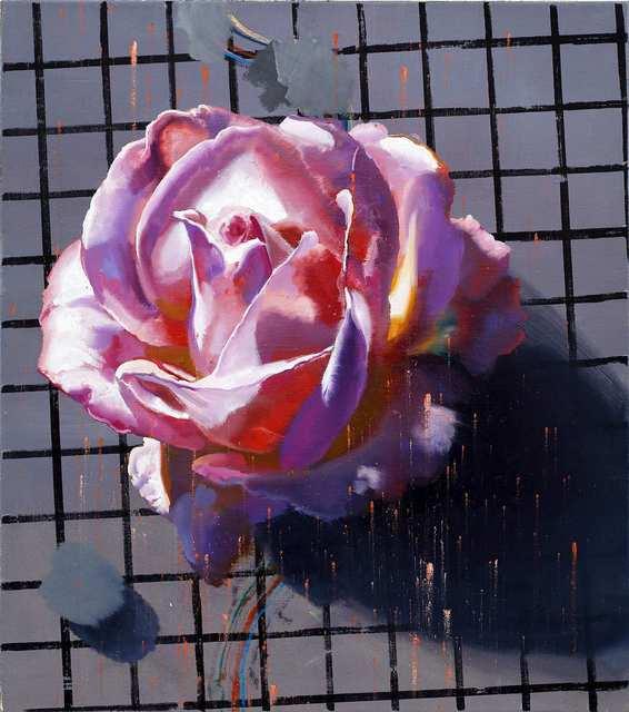 Rayk Goetze, 'Rose (Raster)', 20201, Painting, Oil and permanent marker pen on canvas, Josef Filipp Galerie