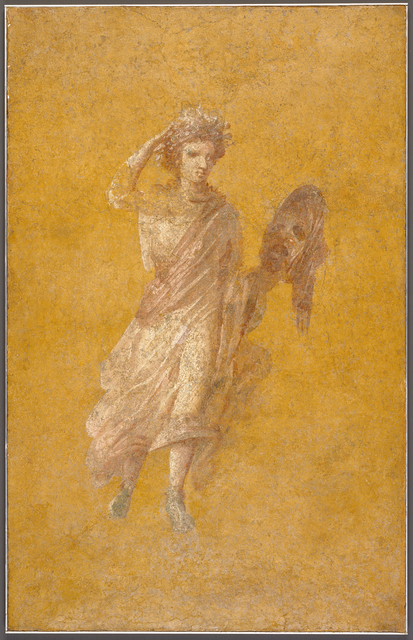 'Fragment of a Yellow Fresco Panel with Muse',  1 -75, J. Paul Getty Museum
