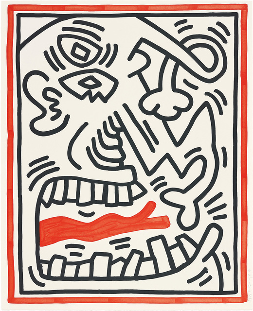 Keith Haring, 'Three Lithographs: one plate', 1985, Print, Lithograph in black and red, on BFK Rives paper, with full margins., Phillips