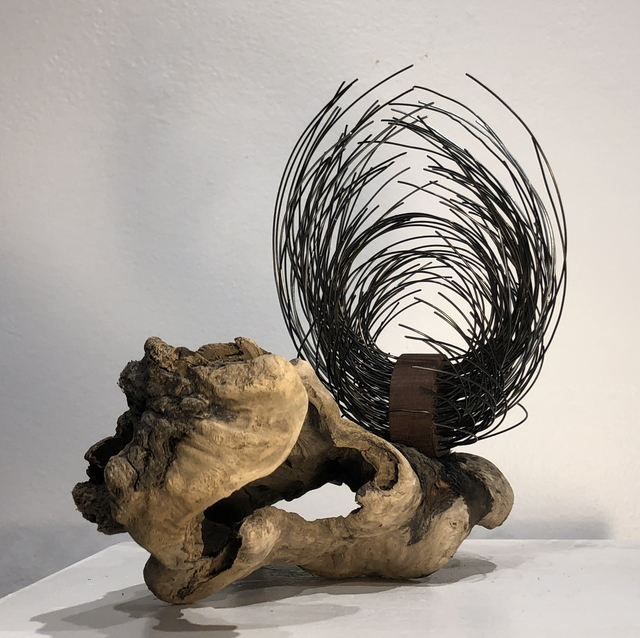 Kirsty Little, 'Sprout', 2021, Sculpture, Found wood, steel, mahogany, Zenith Gallery