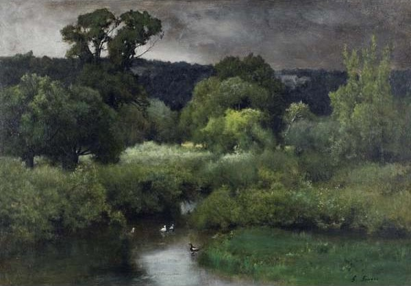 George Inness, 'A Gray Lowery Day', 1877, Painting, Oil on canvas, Davis Museum
