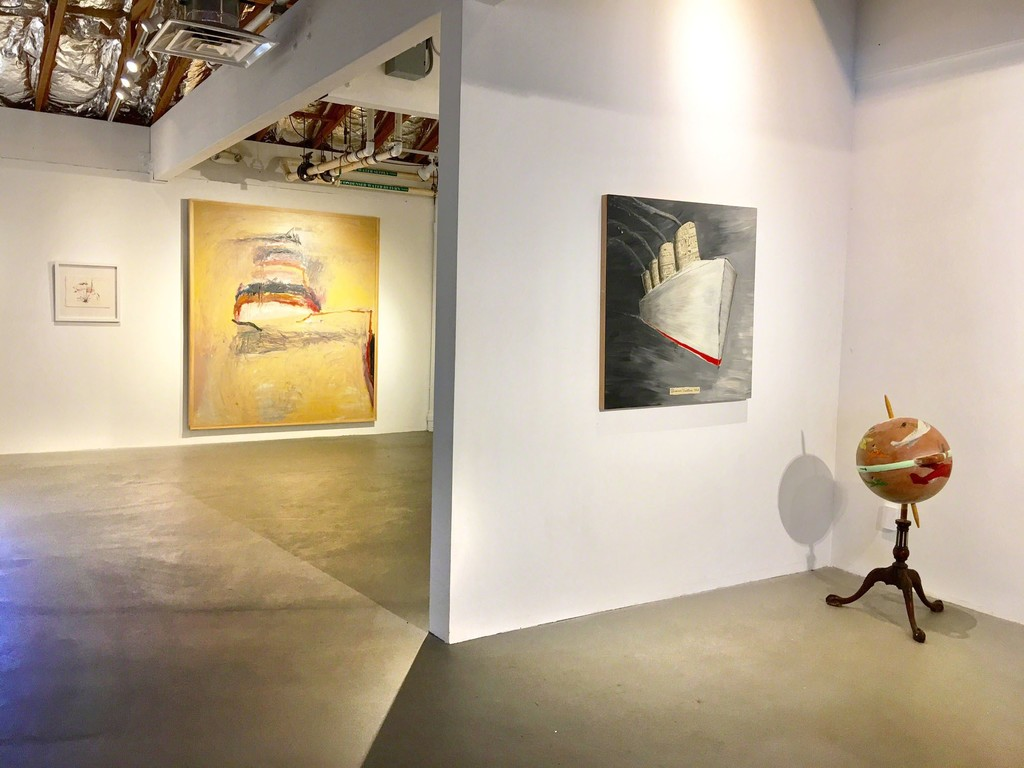 Pictured works (left to right): Tom Lieber; Untitled 2008 watercolor, Bather 1985 oil on canvas. Doug Britt; Summer Vacation 2017 acrylic on canvas, World Wind 2017 mixed media with fishing boat.