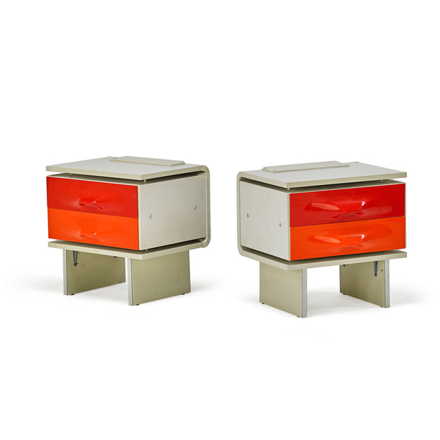 Raymond Loewy, 'Pair Of Illuminated Df-2000 Nightstands, France', 1970s, Rago/Wright