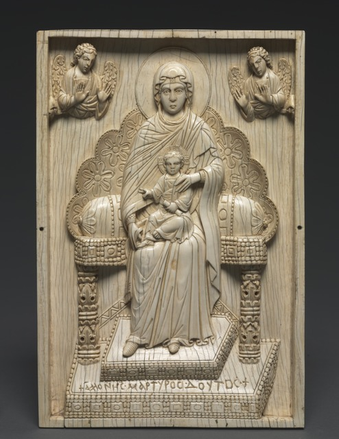 "Byzantium, Constantinople, Byzantine period, 'Ivory Plaque with Enthroned Mother of God (""The Stroganoff Ivory"")', 950-1025, Cleveland Museum of Art"