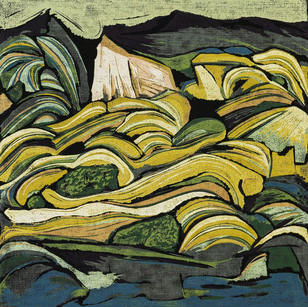 Dawa Mountain II, reduction woodblock print